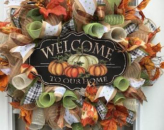 Beautiful Fall Wreath, Fall Decor, Fall front door wreath, Autumn Wreath, Fall, Autumn Decor, Thanksgiving Decor