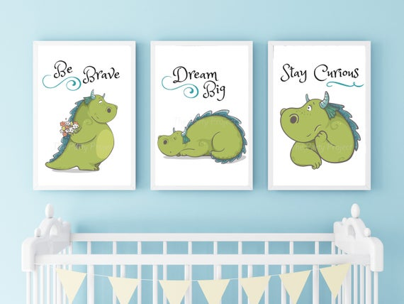 DIY PRINTABLE 3 Dragon Wall Art