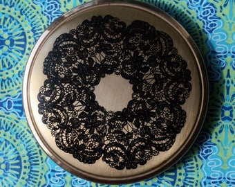 Vintage Unbranded Black Lace on Gold Powder Compact 1960s