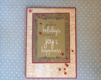 Happy Holidays Christmas Card 1590 FREE SHIPPING