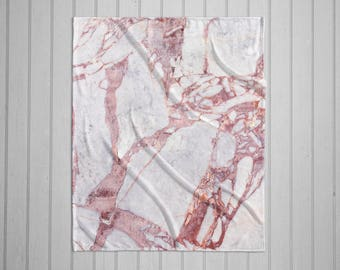 Pink and White Marble plush throw blanket with white back