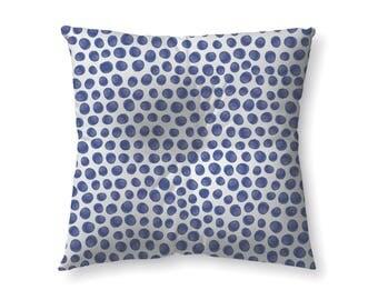 Indigo Polka Dots - floor pillow
