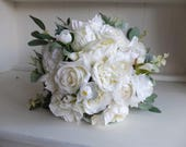 White and ivory silk wedd...