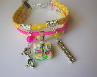Gift teacher school bracelet multicolor school pencil bag