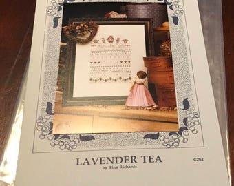 Shepherds Bush Lavender Tea C262  Counted Cross Stitch Pattern The Vanessa Ann Collection Leaflet