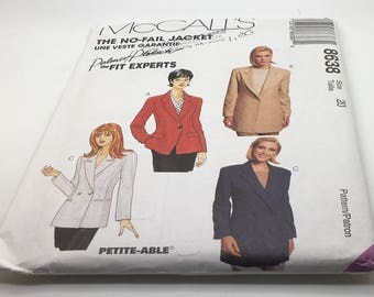 McCall's Sewing Pattern 8638 No Fail Jacket Petite - Able Misses Women Lined Jacket Semi Fitted Single Or Double Breasted Size 20 Uncut FF