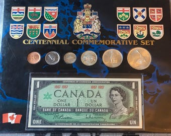Canada Centennial Commemorative Set Year Coin  Set 1867-1967 1 Dollar  Banknote Coat Of Arms  Goose  Wolf  Wild Cat Cougar Silver