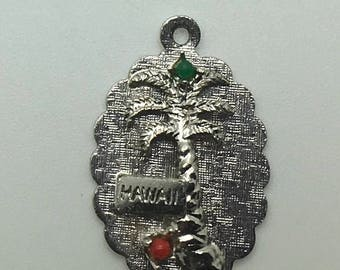 Hawaii Sterling Silver Charm Palm Trees Red Green Faux Pearl  Disk Travel Souvenir Tourist