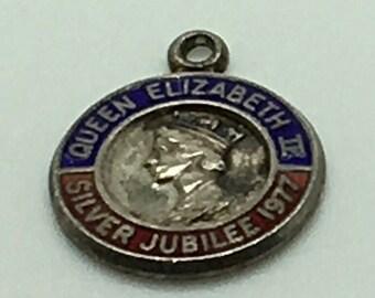 Queen Elizabeth Sterling Silver Charm Blue Red Enamel  Silver Jubilee 1977  Disc  Royal Family Portrait
