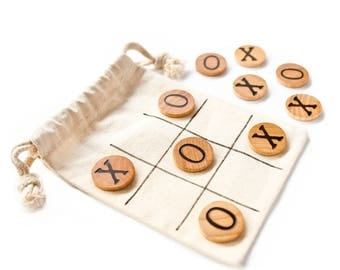 Wood Tic Tac Toe - X's and O's - Noughts and Crosses - Children's Games - Wood Games - Small Gift Ideas - Gifts under 10 - Stocking Stuffer