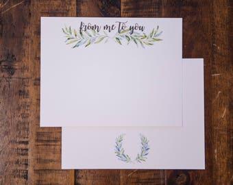 Watercolor Laurels Flat Note Card Set
