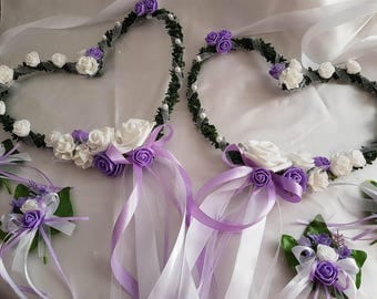 Wedding decoration, 2 hearts for the chairs of the bride and groom, white/purple