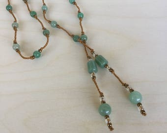 "Aventurine Gemstone and Seed Bead Lariat Necklace Gold Crochet Knotted Cord Aventurine Drop ""Treasure"""