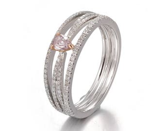Pink Diamond Ring, Heart Shape Diamond Ring, Infinity Diamond Ring with pink Heart Diamond, Promise Ring, Engagement Ring, Diamond Ring Pink