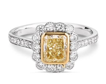 Diamond Engagement Ring, Gold and Diamond Ring, White Gold Diamond Ring , Square Diamond Ring