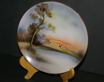 """Vintage 1930s Hand Painted Noritake Made in JAPAN Landscape Design Plate w/ GREEN M WREATH Mark 7-3/4"""""""