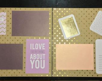 Purple Pink Gold Polka Dot Scrapbook Set (2 pages)