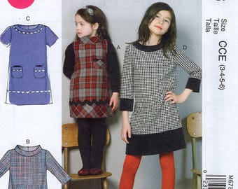 FREE US SHIP Sewing Pattern McCalls 6786 Uncut New Girls Dress Sleeve Variations  Size 7 8 10 12 14  (Last size left)  Uncut New