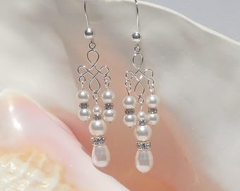 Swarovski white crystal pearl and sterling silver earrings
