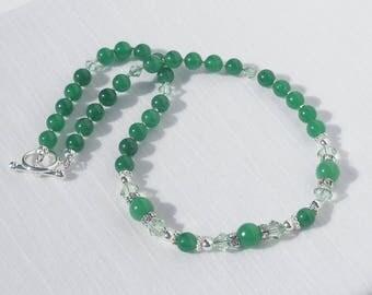Green aventurine and Swarovski crystal necklace