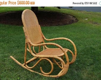 on sale franco albini style rocker mid century bentwood bamboo caned rattan rocking chair