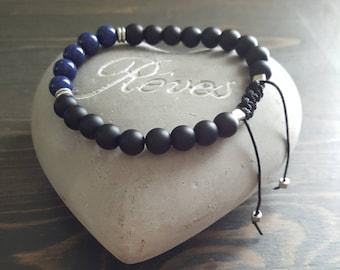 Bracelet for men, onyx and lapis lazuli stones.