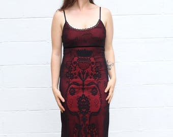 90s brocade vintage red & black overlay lace midi length bodycon dress