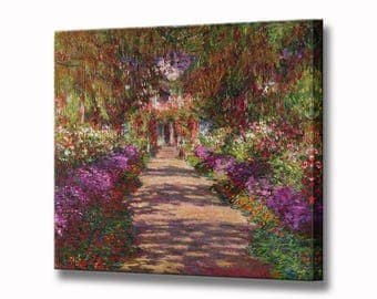 Monet Painting - Pathway in Monets Garden Canvas Wall Art Print in 4 Sizes Ready To Hang