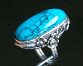 ON SALE Beautiful Turquoise Silver Ring