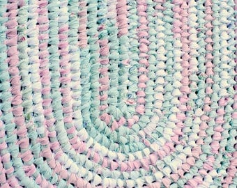 Cotton Rag Rug, Oval Amish Knot/Toothbrush Rug, Pink Green Shabby Style  Cottage