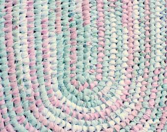 Cotton Rag Rug, Oval Amish Knot/Toothbrush Rug, Pink Green Shabby Style Cottage Rug, Optional Shape or Size Rug, Kitchen Rug, Nursery rug
