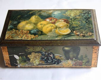 Vintage Cookie Tin with Fruit Decor