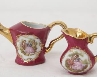 Set of Two Vintage Limoges Porcelain Miniatures, Watering Can and Jug, Fragonard Decor, France