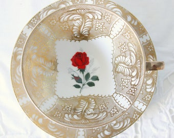 Beautiful Vintage Teacup and Saucer, Gold with Red Rose Decor, Bareuther Waldsassen, Germany