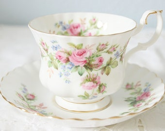 Vintage Royal Albert Bone China 'Moss Rose' Cup and Saucer, Gentleman Size, England
