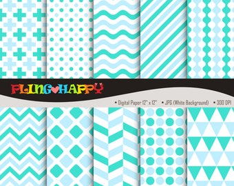 70% OFF Turquoise And Light Blue Digital Papers, Cross/Polka Dot/Wave/Stripe/Chevron, Personal & Small Commercial Use, Instant Download