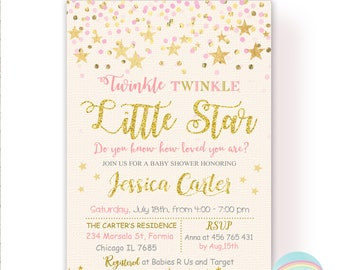 Twinkle Twinkle Little Star Baby Shower Invitation, Pink and Gold Baby Shower Invitation, Girl Baby Shower Invitation, Digital File
