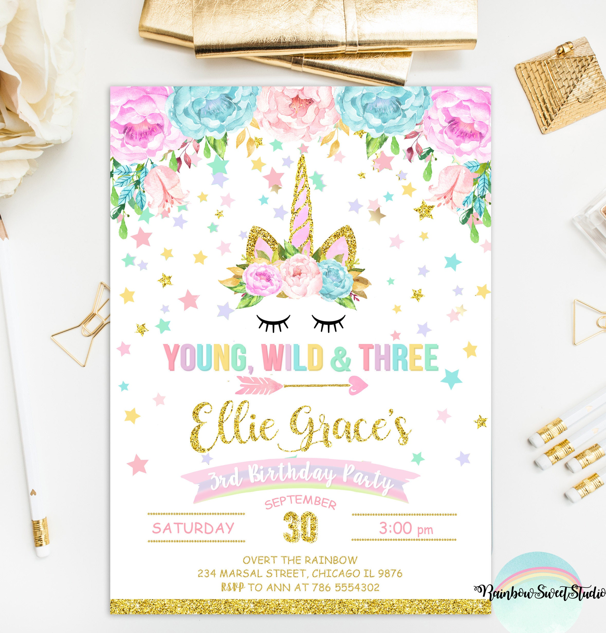 Unicorn Young Wild And Three Invitation Unicorn Birthday