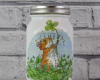 Hand painted ,decoupaged Jar