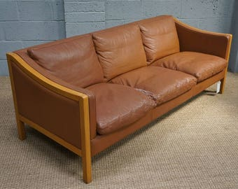 Vintage Danish Tan Leather Sofa by Stouby