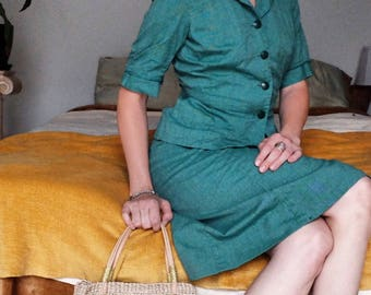 Vintage 50s 60s Green Girl Scout Two Piece Uniform Small