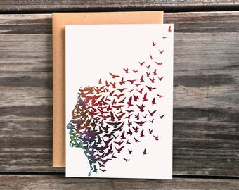 Freedom Art Greeting Card, Silhouette of Birds flying