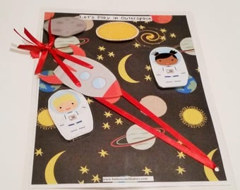 Astronaut Busy Bag, Outer Space Busy Bag, Astronauts in Outer Space, Rocketship, Toddler, Preschool, Homeschool,  Boys, Girls, Pretend Play