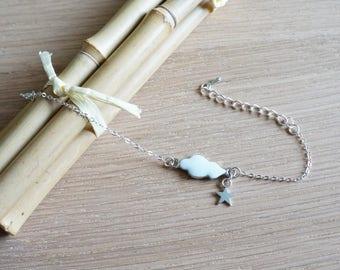 Fine white Star Cloud enameled metal silver bracelet