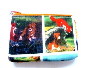 New! coin purse with fox and dog made from children fabric