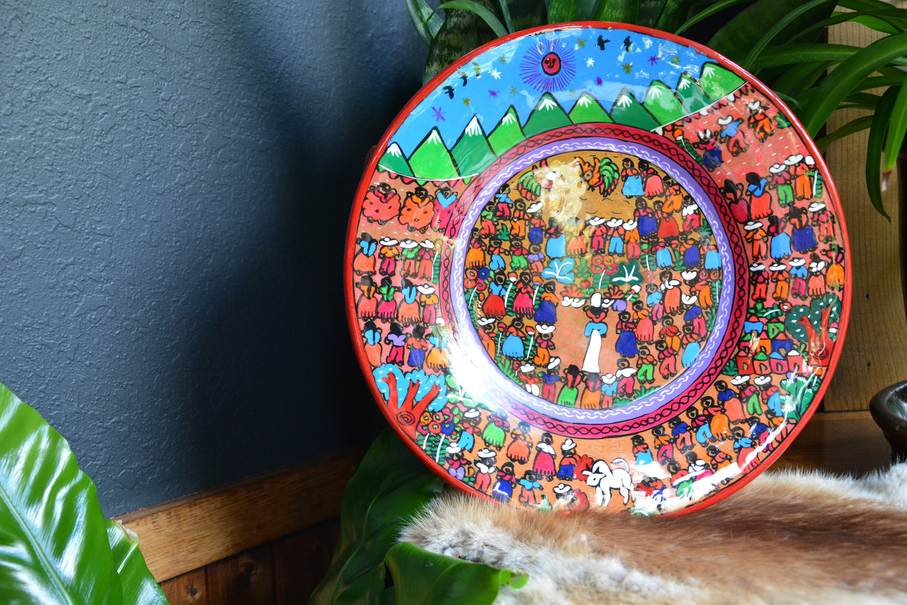 Vintage Terracotta Clay Hand Painted Mexican Folk Art Storyteller Plate | Vintage Colorful Ceramic Clay Storyteller & Vintage Terracotta Clay Hand Painted Mexican Folk Art Storyteller ...