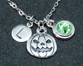 Silver Pumpkin necklace, swarovski birthstone, initial necklace, birthstone necklace