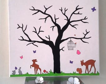 """prints """"the wonderful forest"""" tree rabbits, deer, squirrel, butterfly"""