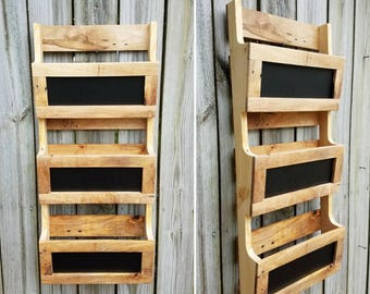 reclaimed pallet wood 3 pocket vertical wall organizer with chalkboard front mail holder file