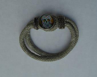 1 beige chunk bracelet skull choice